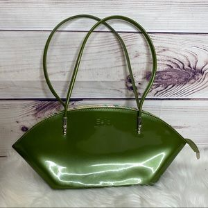 Beijo Green Over The Moon Patent Leather Purse